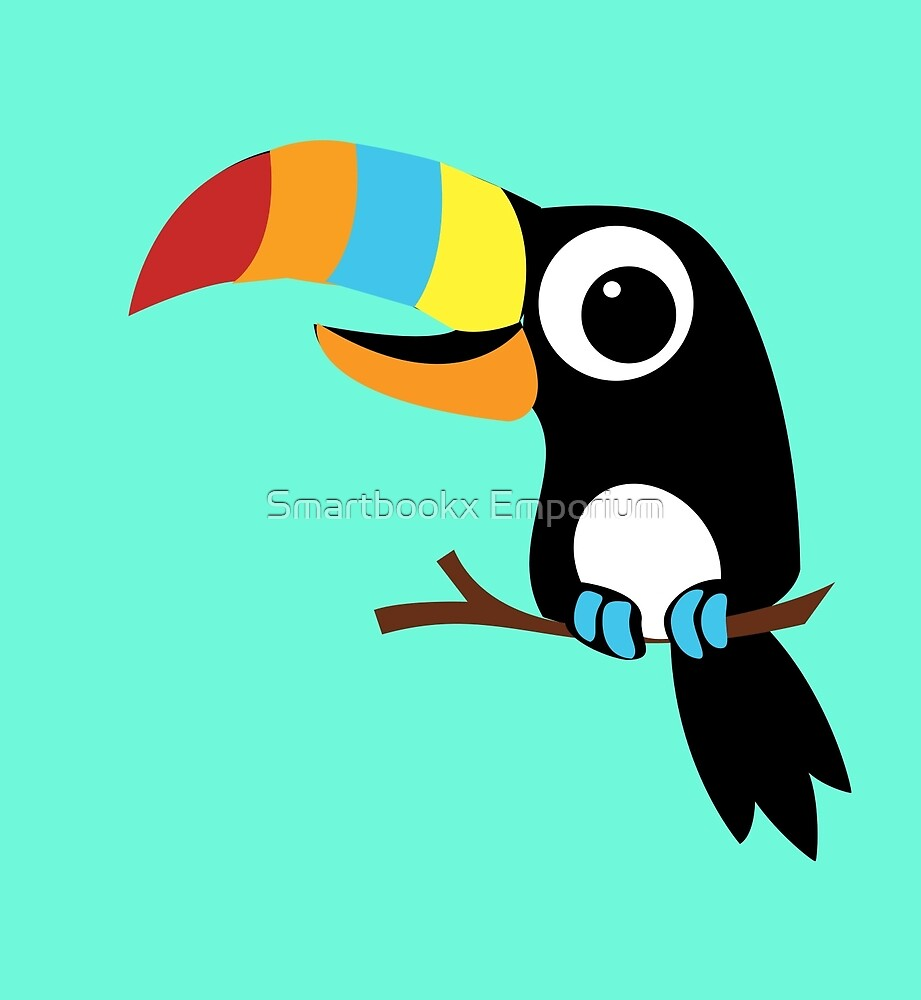 Toucan Cartoon - Bright Fun Colours by Smartbookx Emporium
