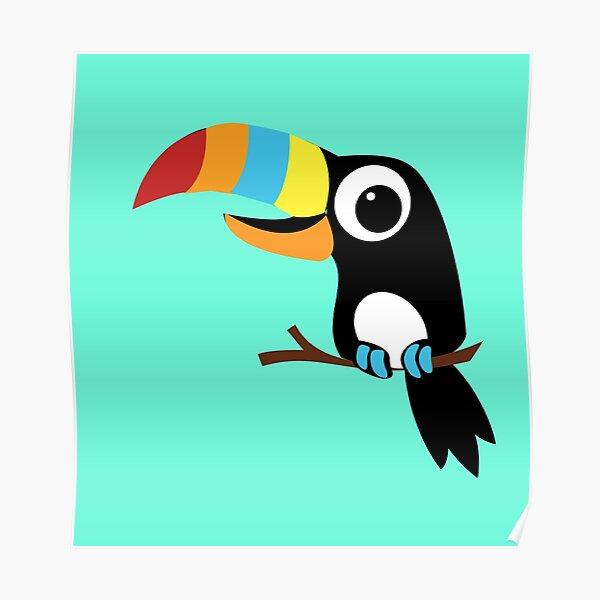 Toucan Cartoon - Bright Fun Colours Poster