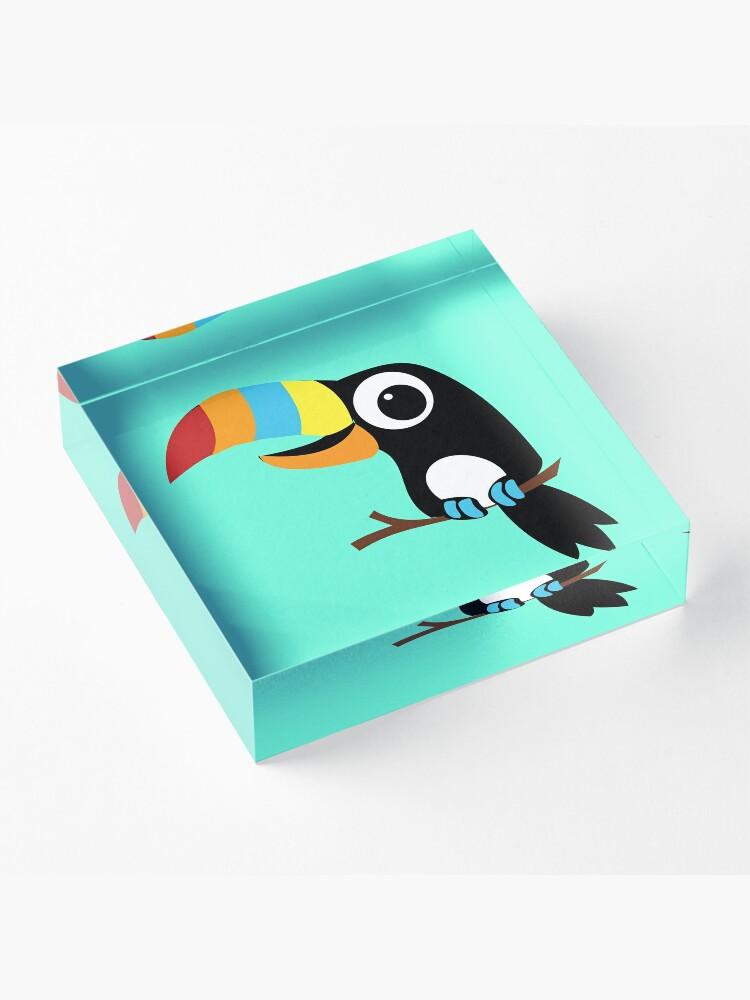 Alternate view of Toucan Cartoon - Bright Fun Colours Acrylic Block