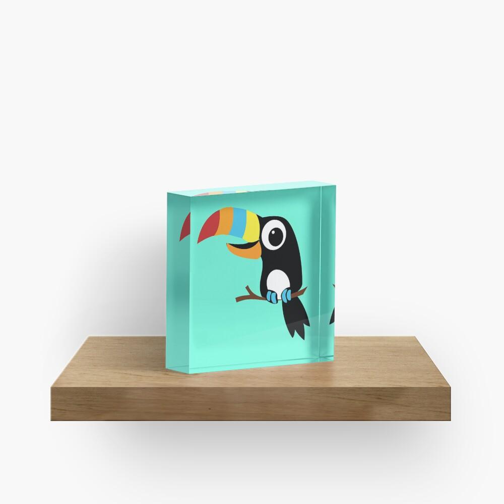 Toucan Cartoon - Bright Fun Colours Acrylic Block