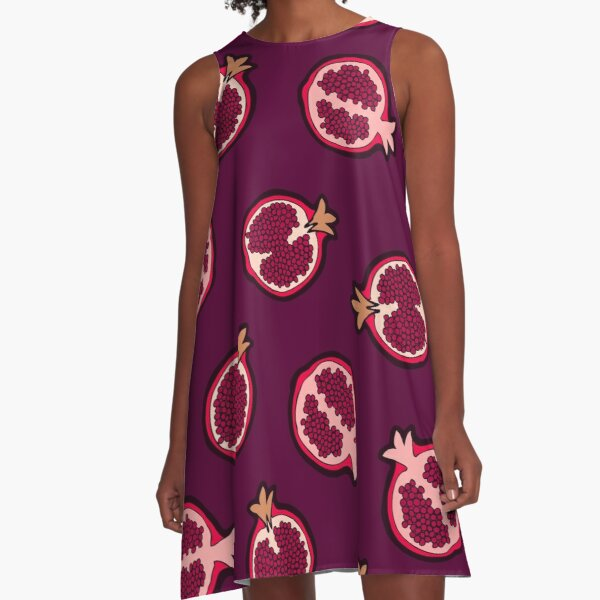 Pomegranate Pattern A-Line Dress