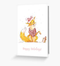 Happy Holidays! Fox in a Hat Greeting Card