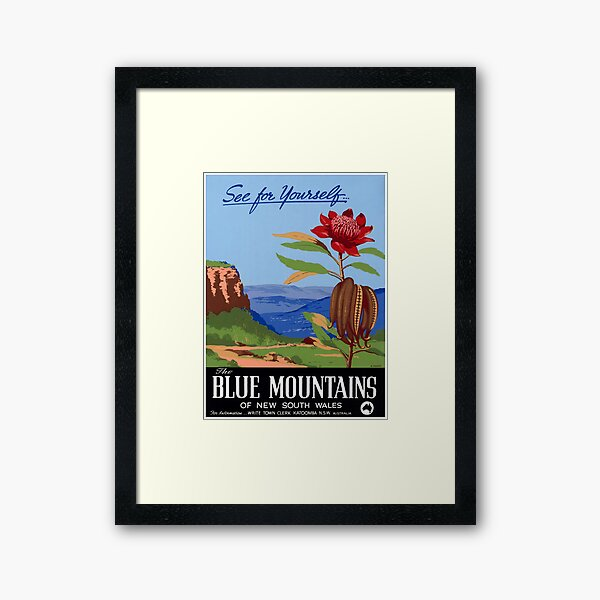 Australia Blue Mountains Restored Vintage Poster Framed Art Print
