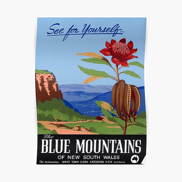 Australia Blue Mountains Restored Vintage Poster Poster