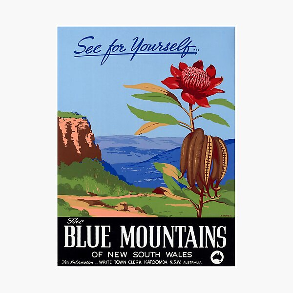 Australia Blue Mountains Restored Vintage Poster Photographic Print