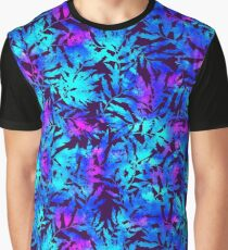 Blue mystic watercolor leaves Graphic T-Shirt