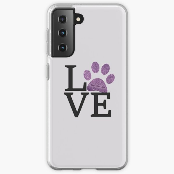 Love is a Four Letter Word - Purple Sparkly Paw Print  Samsung Galaxy Soft Case