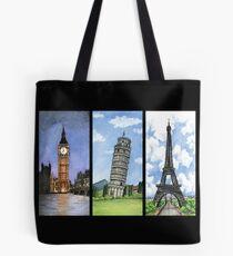 Bolsa de tela Landmark Towers - Big Ben - Torre Eiffel - Torre de Pisa