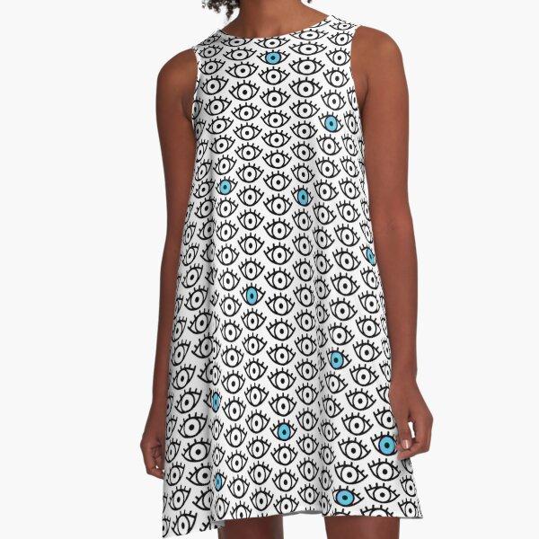Black, White & Blue Spooky Eyes A-Line Dress