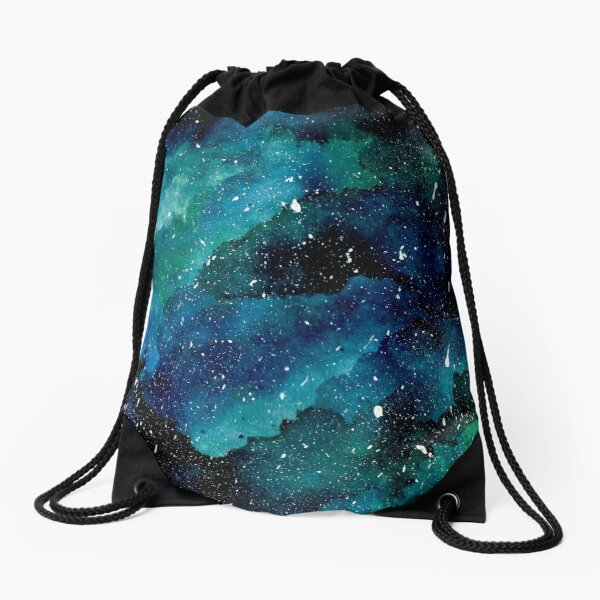 Emerald Galaxy Drawstring Bag