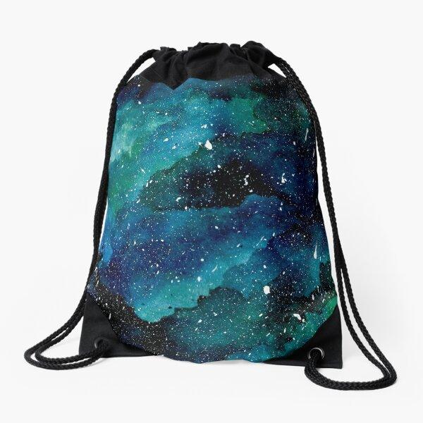 Emerald Galaxy Drawstring Bag