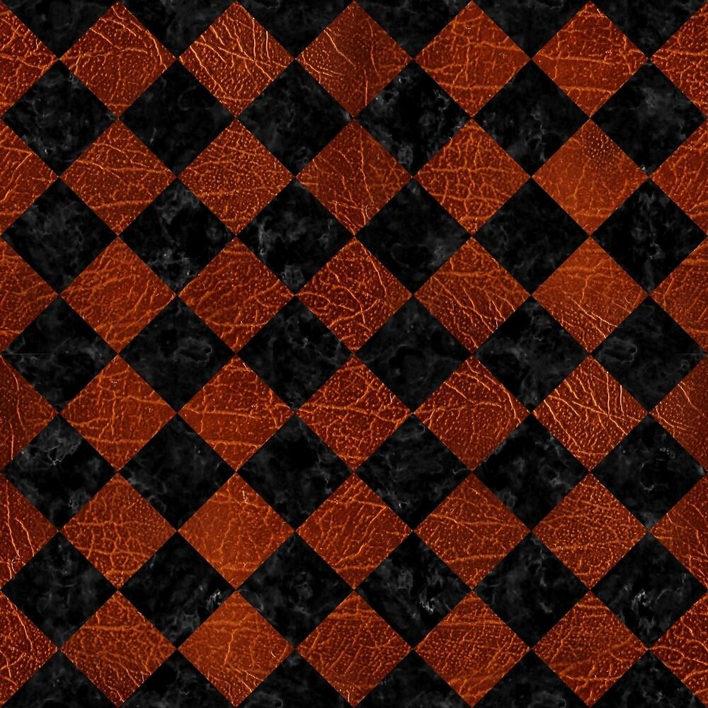SQUARE2 BLACK MARBLE & REDDISH-BROWN LEATHER by johnhunternance