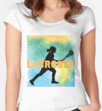 Watercolor Lacrosse Girl Women's Fitted Scoop T-Shirt