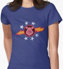 Vintage Pigs in Space Women's Fitted T-Shirt