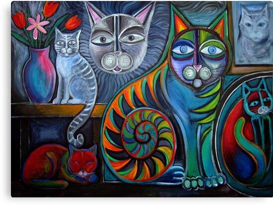 Neon Cats in Acrylics by Karin Zeller