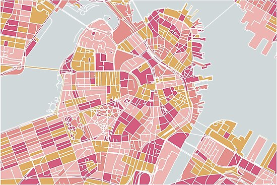 Pink and gold Boston map by AnnaGo