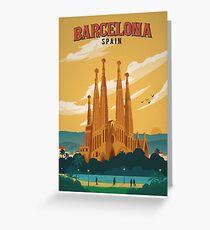 Barcelona Spain Retro Poster  Greeting Card