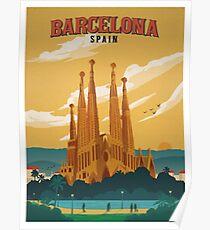 Póster Cartel retro de Barcelona España