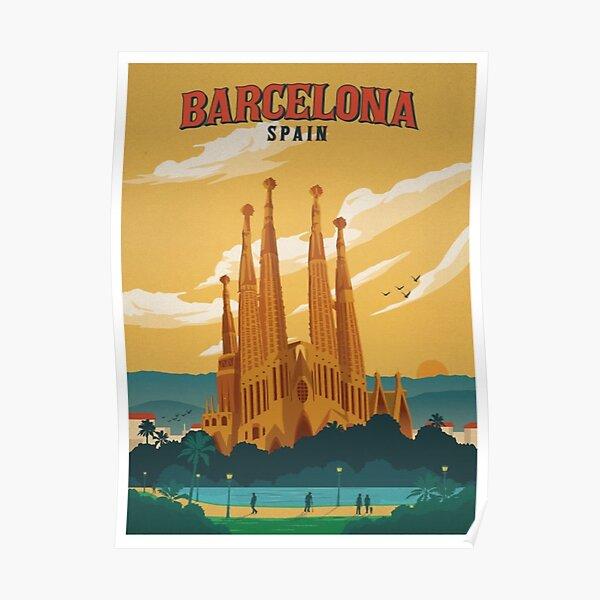 Barcelona Spain Retro Poster  Poster