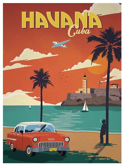 Havana Cuba Retro Poster  by DigiArtyst