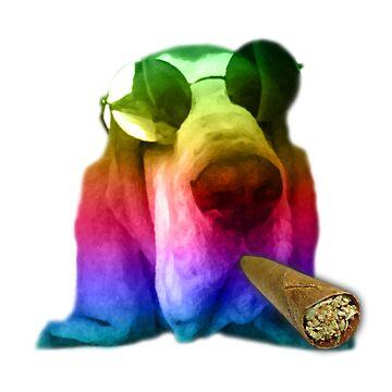 Hippie Basset Hound Dog Smoking a Massive Blunt by koodburg