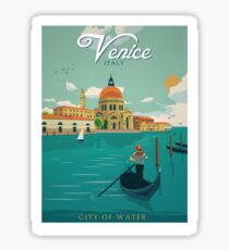 Venice Italy City of Water Retro Poster  Sticker