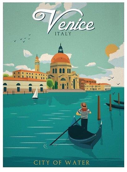 Venedig Italien Stadt des Wasser-Retro- Plakats von DigiArtyst