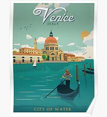 Póster Cartel Retro Ciudad de Agua de Venecia Italia