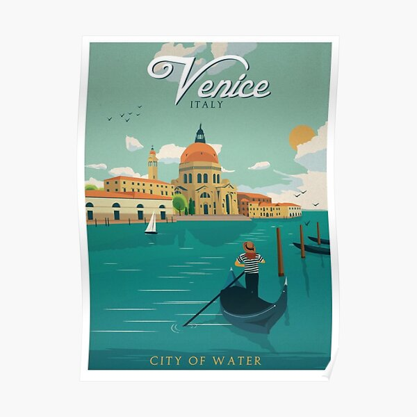 Venice Italy City of Water Retro Poster  Poster