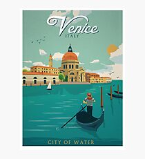 Venice Italy City of Water Retro Poster  Photographic Print