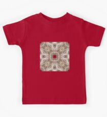 Tan, White and Red Delicate Lace and Leaves Pattern - Fancy Holiday Vintage Style Kids Clothes
