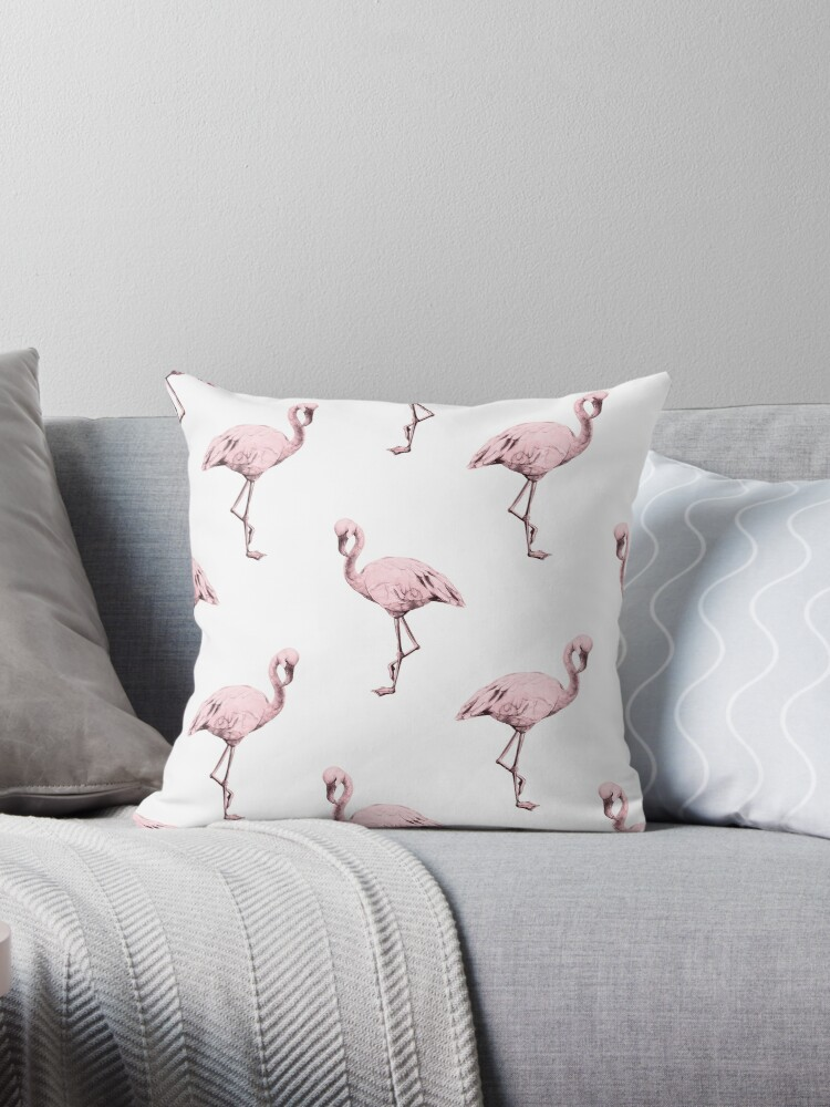 Rose Pink Flamingo Pattern on White by SimpleLuxe