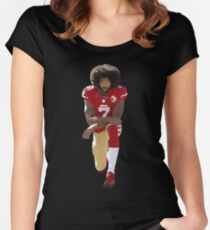 Colin Kaepernick Kneeling Low Poly Women's Fitted Scoop T-Shirt