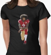 Colin Kaepernick Kneeling Low Poly Women's Fitted T-Shirt