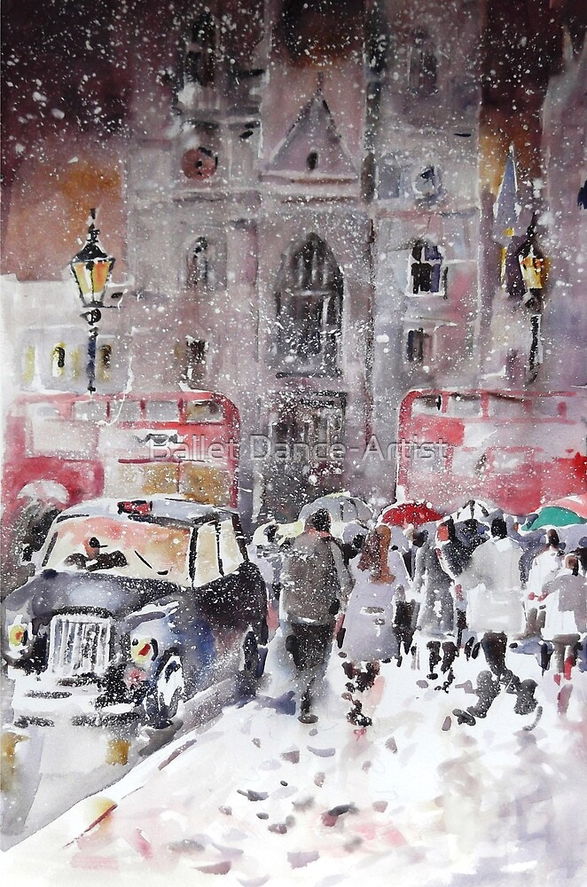 Winter Snow In London - City Street Scene by Ballet Dance-Artist