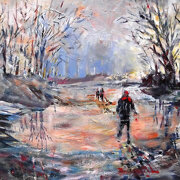 Country Walk On Icy Winter Day - Art Cards Prints & Gifts by ballet-dance