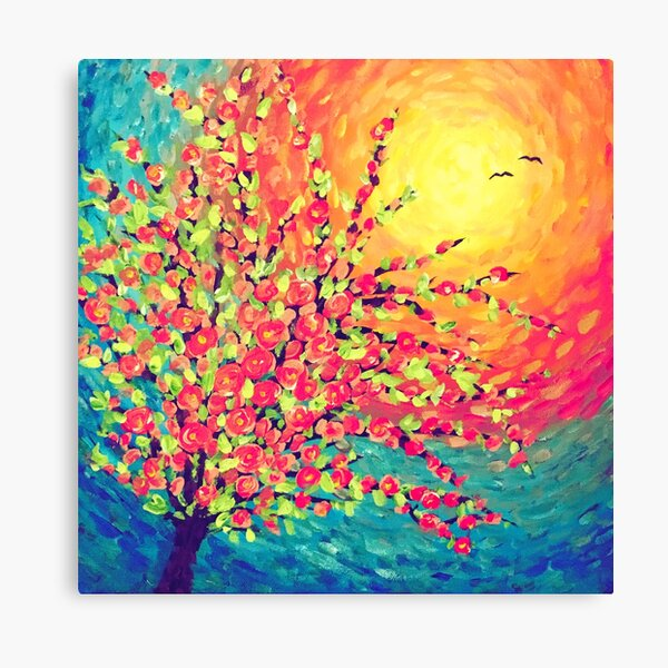 Pretty Rose Sunset with Birds Canvas Print