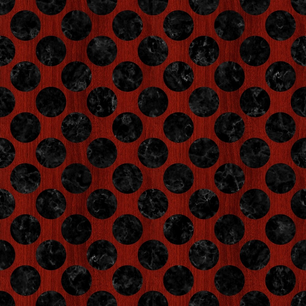 CIRCLES2 BLACK MARBLE & REDDISH-BROWN WOOD by johnhunternance