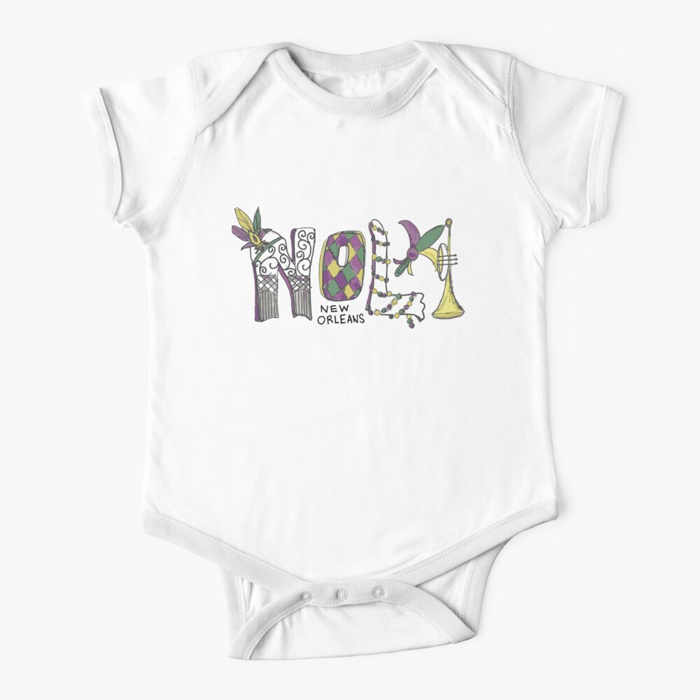 NOLA New Orleans Mardi Gras Baby One-Piece