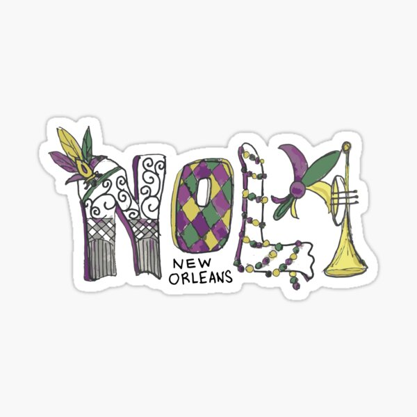 NOLA New Orleans Mardi Gras Sticker