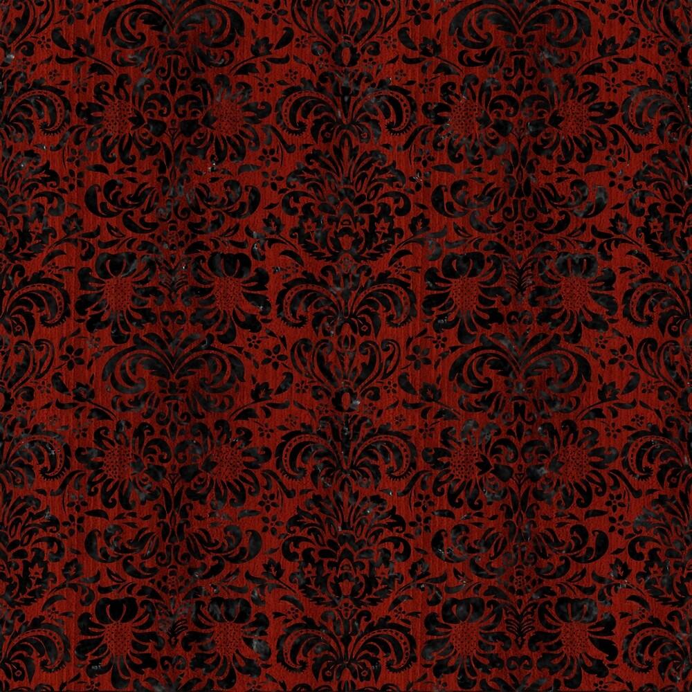 DAMASK2 BLACK MARBLE & REDDISH-BROWN WOOD by johnhunternance