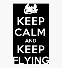 Keep Calm and Keep Flying (White) Photographic Print