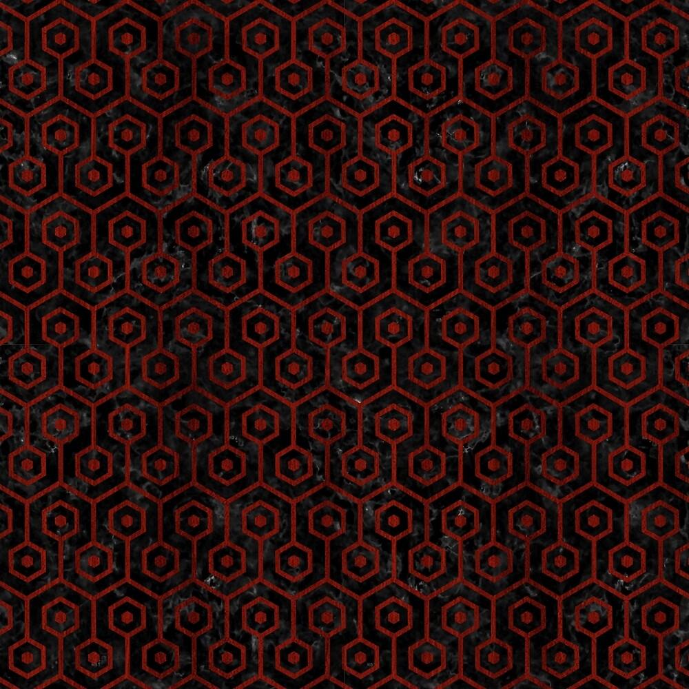 HEXAGON1 BLACK MARBLE & REDDISH-BROWN WOOD (R) by johnhunternance