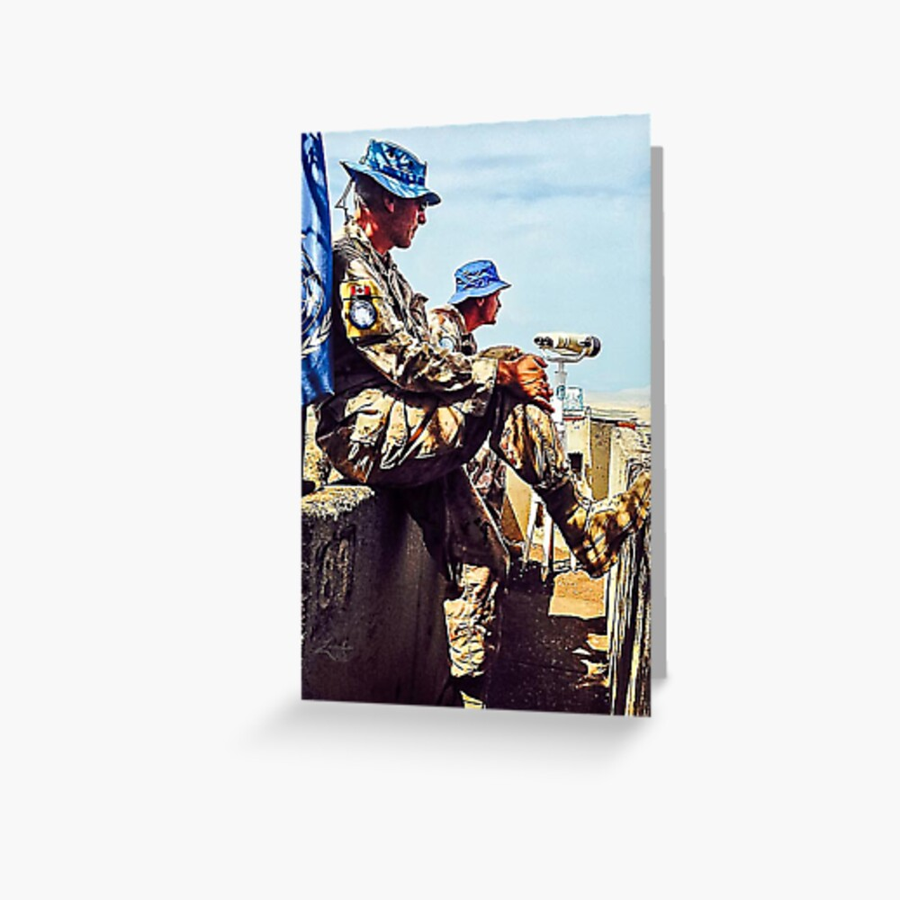 UN SOLDIERS OVERLOOKING SYRIAN BORDER (Golan Heights, Israel) Greeting Card