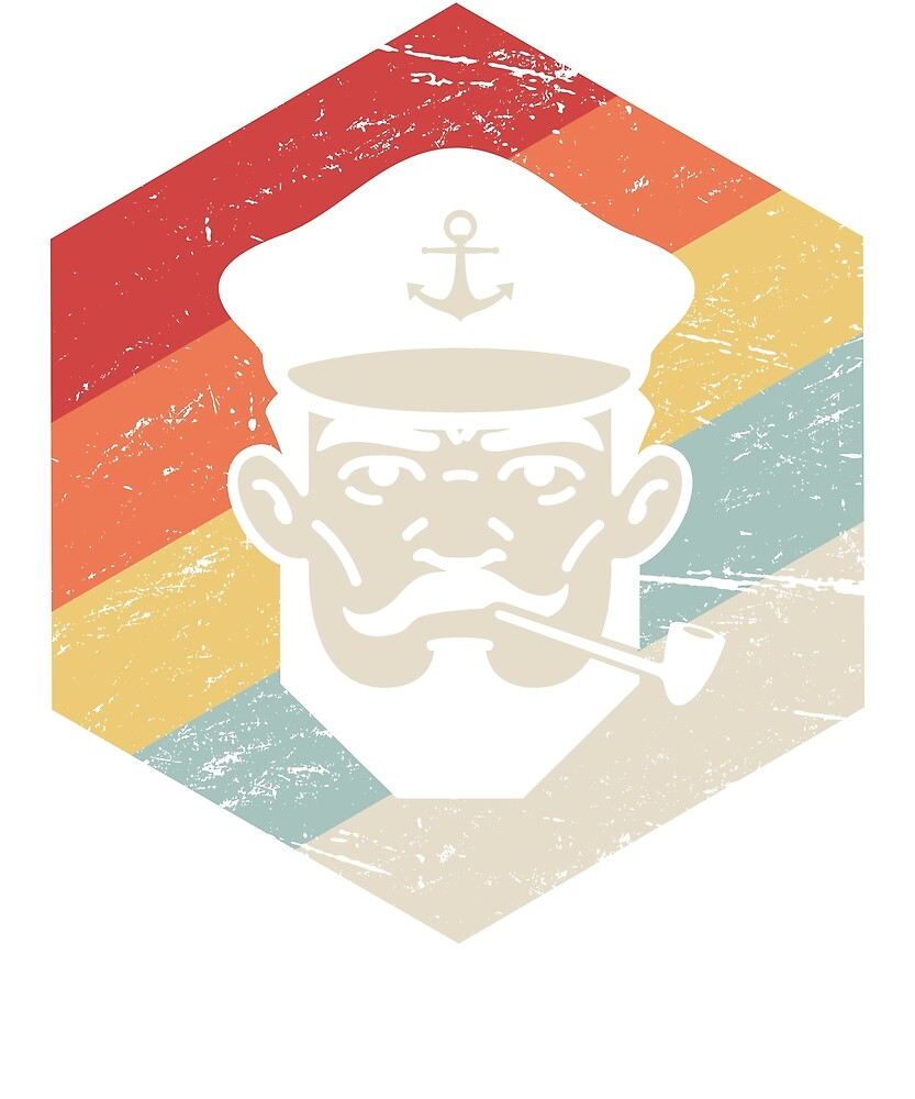 Vintage Retro Boat Captain Icon by Nathan Darks