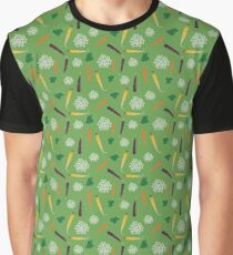 Produce Series - #3 Carrots Green Background Graphic T-Shirt