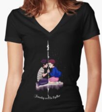 mike and eleven stranger things Women's Fitted V-Neck T-Shirt