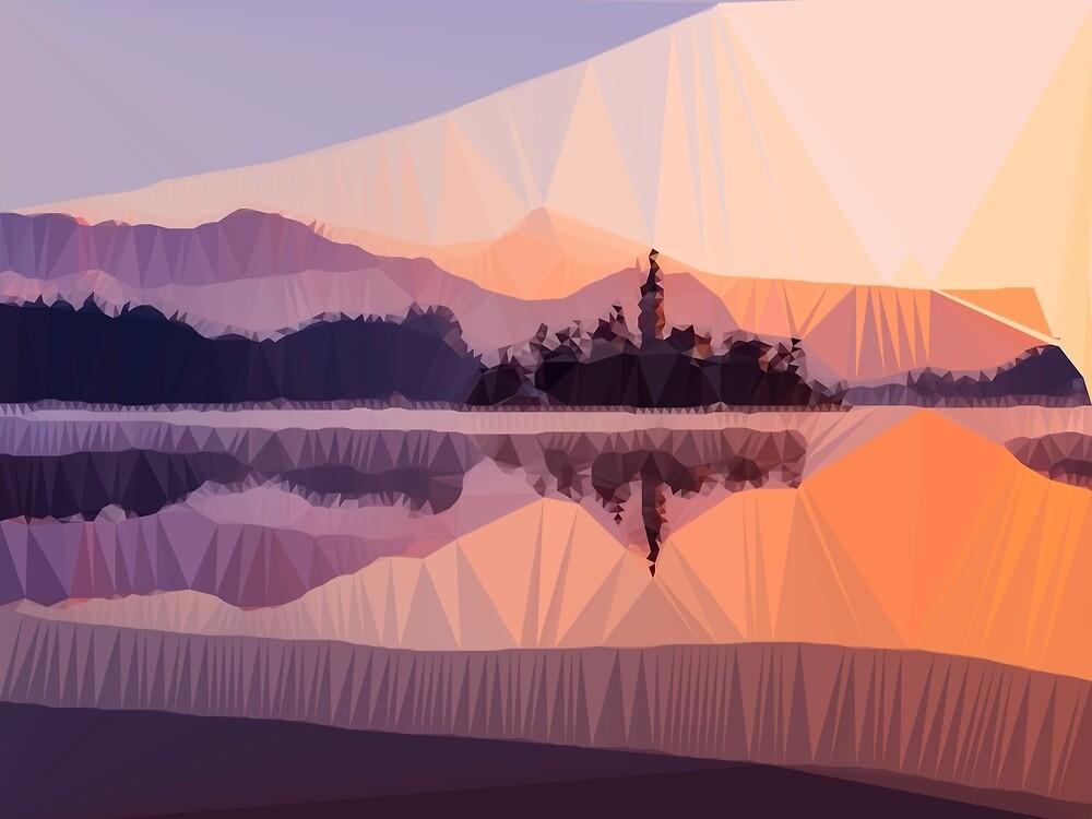 Orange Sunset Low Poly Geometric Triangle Landscape by Vicky Brago-Mitchell