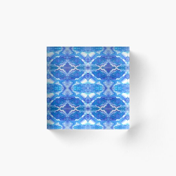 SPACE SOUP original acrylic painting, Trippy pattern, blue pattern, psychedelic pattern, fractal, geometric  Acrylic Block