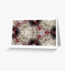Snowy Fern Lace Snowflakes with Christmas Plaid and Red Accents - 3D Macro Photo Collage Greeting Card